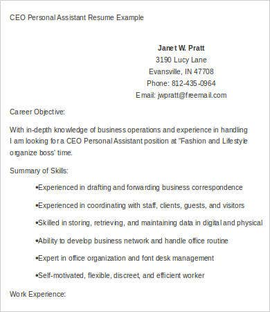 ceo personal assistant resume
