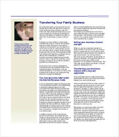 Family Business Succession Planning Template