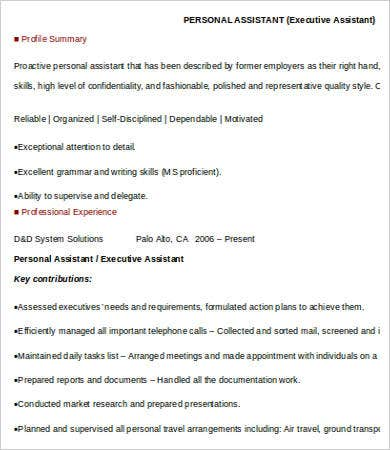 Executive Assistant Personal Assistant Resume  Executive Assistant Skills
