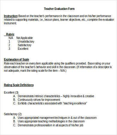 Teacher Evaluation Teacher Evaluation Form For Students Template