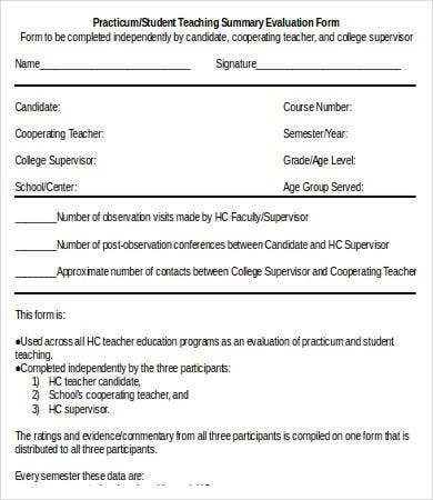 Practicum or Student Teaching Summary Evaluation Form