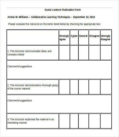 Course Evaluation Template Sample Course Evaluation Form Format
