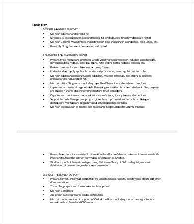 administrative task list template