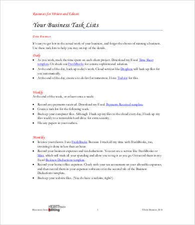 business task list template