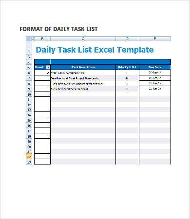 Daily Task List Template Word - Ex