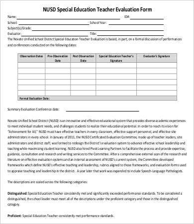 Special Education Teacher Evaluation Form
