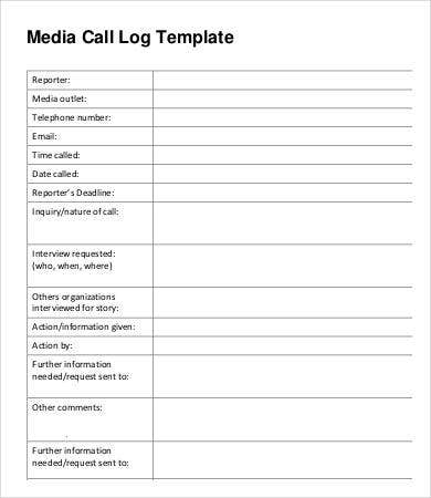 Sample Media Call Log Template
