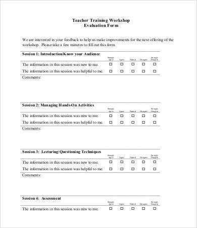 Teacher Training Workshop Evaluation Form