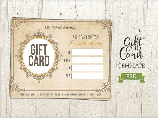 gift card template psd certificate