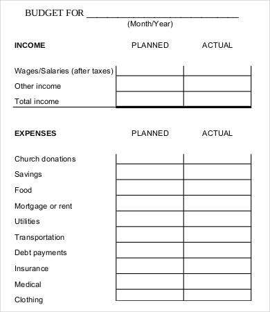 Monthly Family Budget Worksheet
