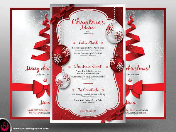 Christmas Free Menu Template