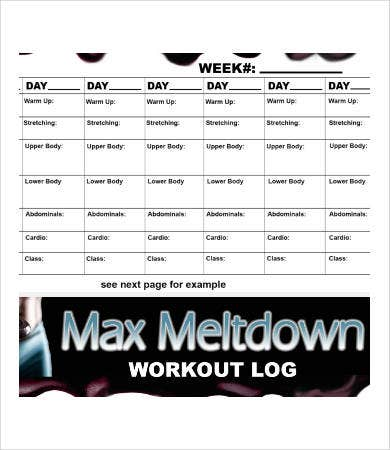 Workout Log Template   Free Word Pdf Documents Download  Free