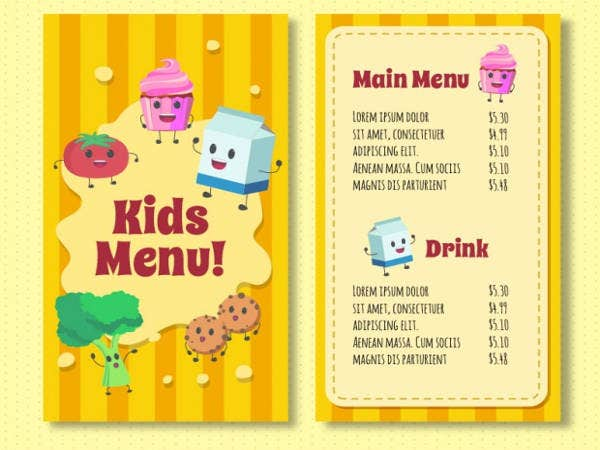 Free Kids Menu Template  Free Kids Menu Templates