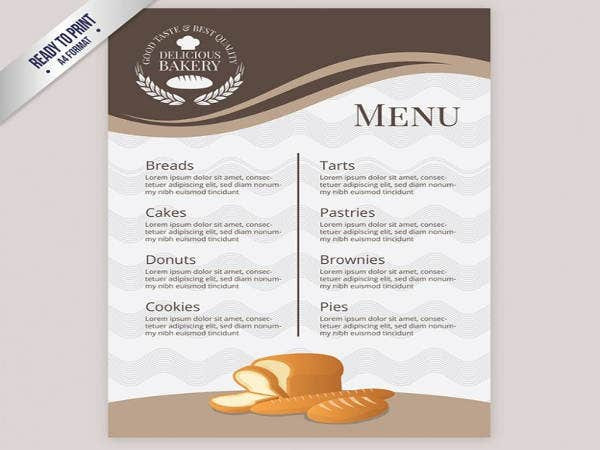 Free Elegant Bakery Menu Template
