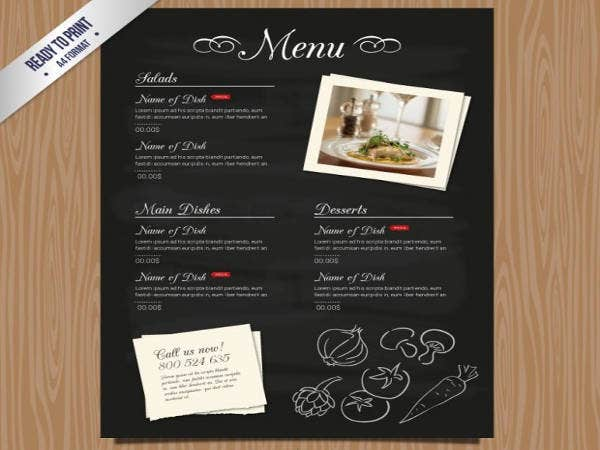 Free restaurant Menu Template