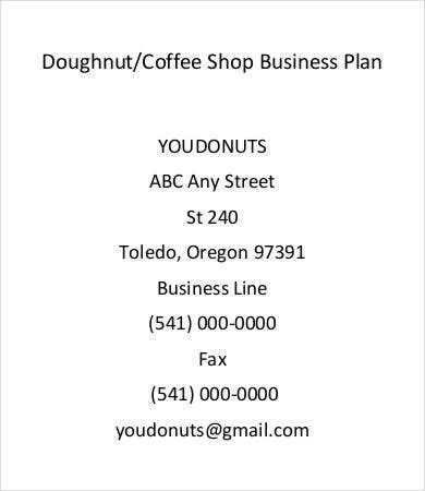 Doughnut Coffee Shop Business Plan Template