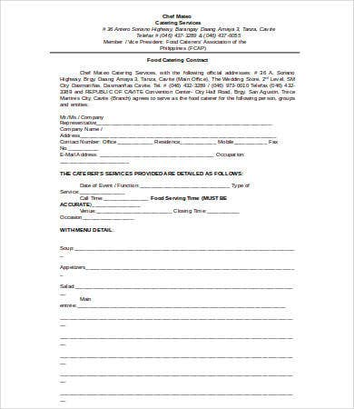 Catering Contract - 9+ Free Pdf, Word Documents Download | Free