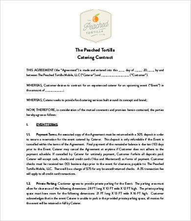 Catering Contract   Free Pdf Word Documents Download  Free