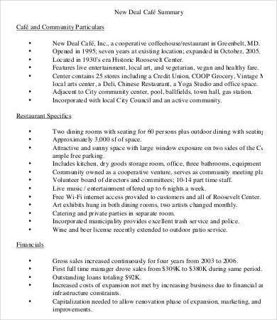 New Deal Coffee Shop Business Plan Template