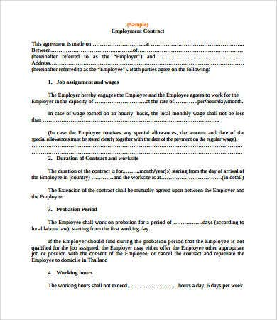 Contract Agreements  Free Sample Example Format  Free