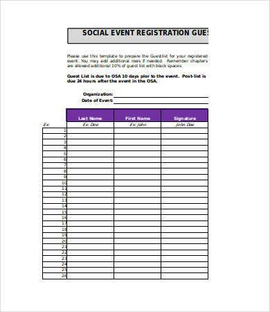 Social Event Guest List Template  Guest List Sample