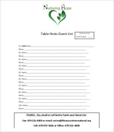 Guest List Template   Free Word Pdf Excel Documents Download