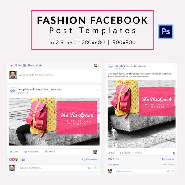 10 Free Facebook Post Templates Business Travel Fashion Free