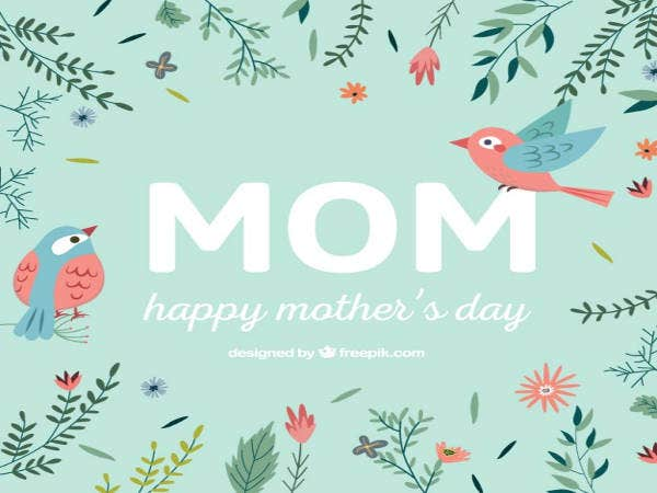 Free Happy Mother's Day card with Flowers and Birds