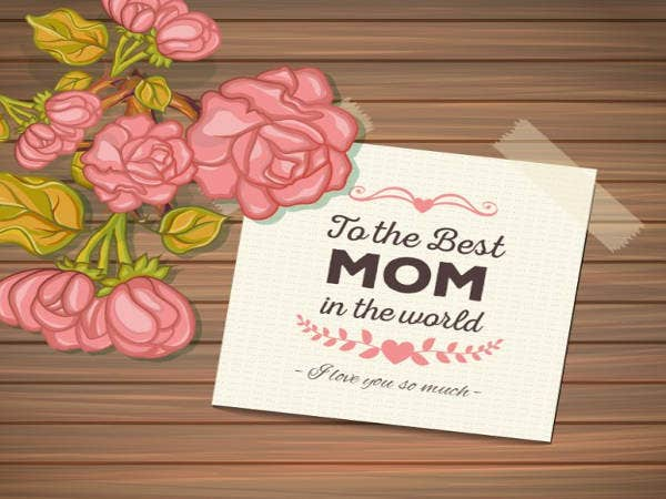 Free Mothers day Card with Wood Background