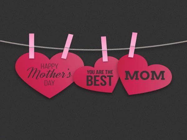 Free Hanging Hearts Mothers Day Card