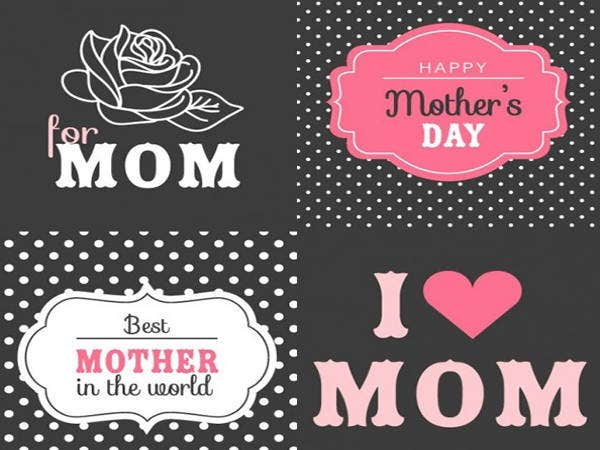 Free Mother's Day Retro Cards Set
