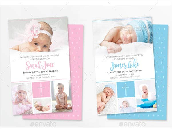 Perfect Blue U0026 Pink Baptism Invitations Good Looking