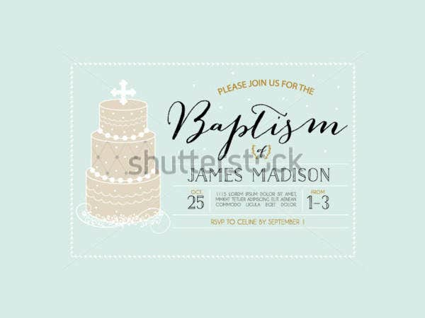 baptism invitation template with cake