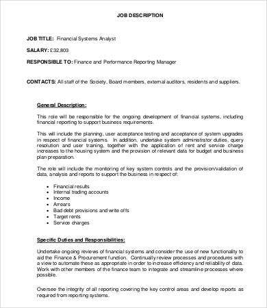Financial System Analyst Job Description