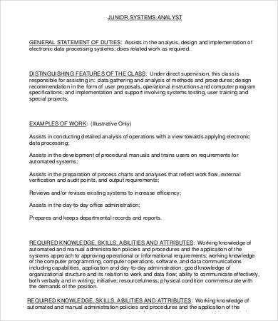 Junior System Analyst Job Description Template
