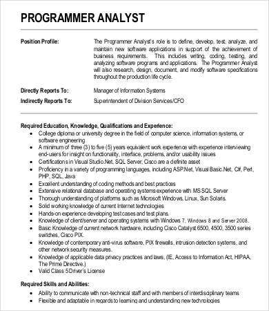 System Analyst Job Description - 9+ Free Pdf, Word Documents