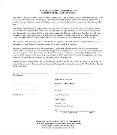 Real Estate Escrow Agreement