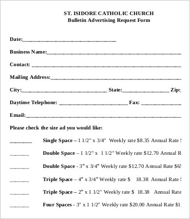Church Bulletin Advertisement Request Form
