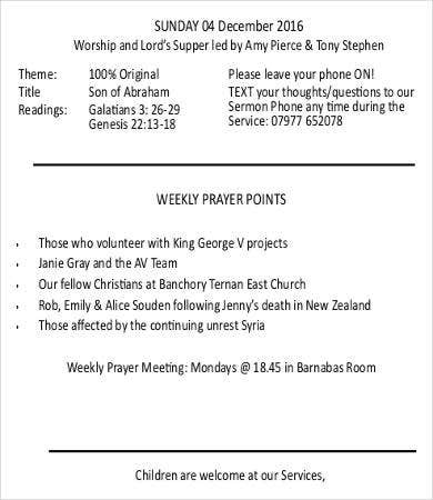 Church bulletin template 12 free pdf psd format for Weekly bulletin template