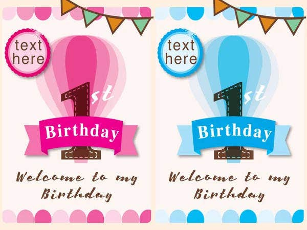 Free 1st Birthday Cards of Girl and Boy