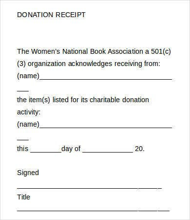 Blank Donation Receipt Template  Blank Receipts Templates