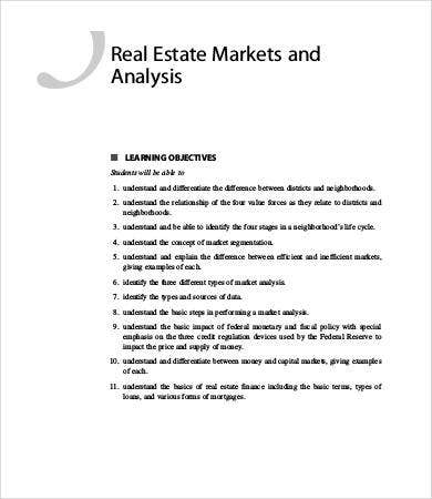 Sample Real Estate Market Analysis Sample Real Estate Broker