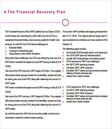 Financial Recovery Plan Template