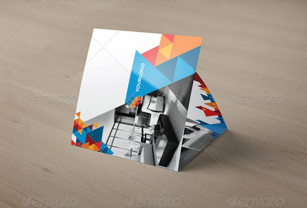 Square Modern Geometric Trifold
