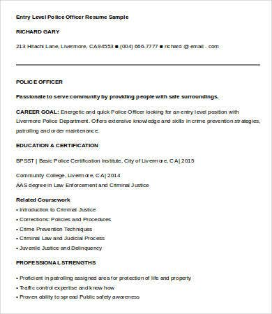 entry level police officer resume