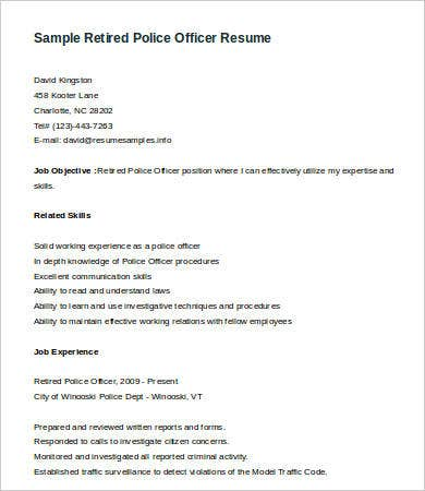 Sample Retired Police Officer Resume Template  Police Officer Resume Template