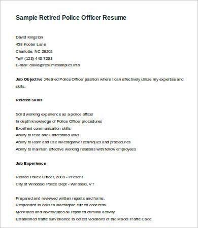 Resume Police Officer Stunning Sample For