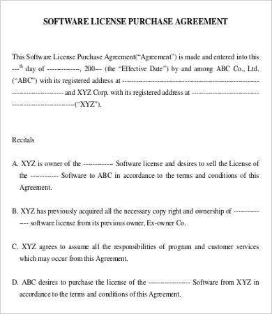 Software License Purchase Agreement Template