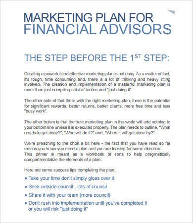Financial Advisor Marketing Plan Template