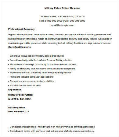 military police officer resume sample